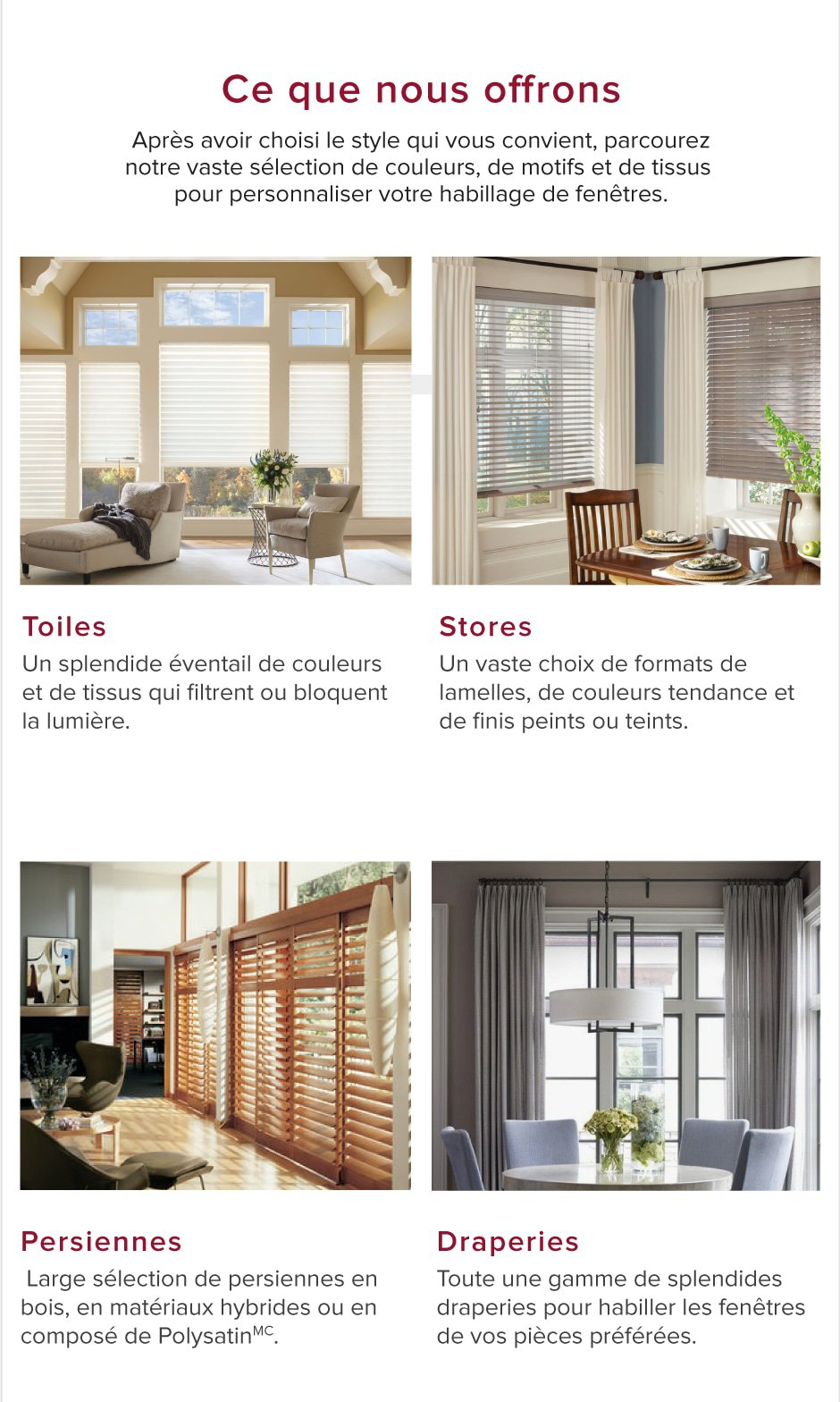 Habillages de fenêtre sur mesure - Épargnez jusqu\'à 50 %
