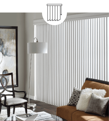 WHITE CUSTOM VERTICAL BLINDS IN LIVING ROOM