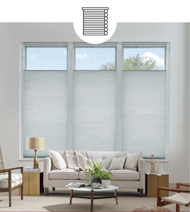 GREY CUSTOM HONEYCOMB SHADES IN LIVING ROOM