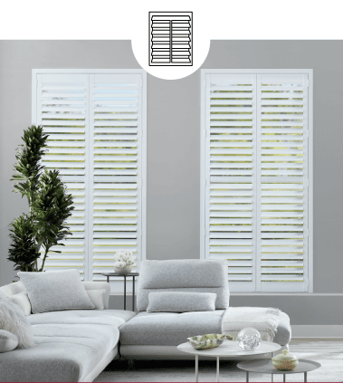 WHITE CUSTOM SHUTTERS IN LIVING ROOM