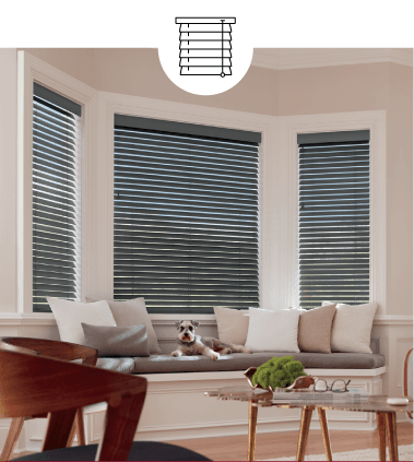 GREY CUSTOM HORIZONTAL BLINDS WITH DOG