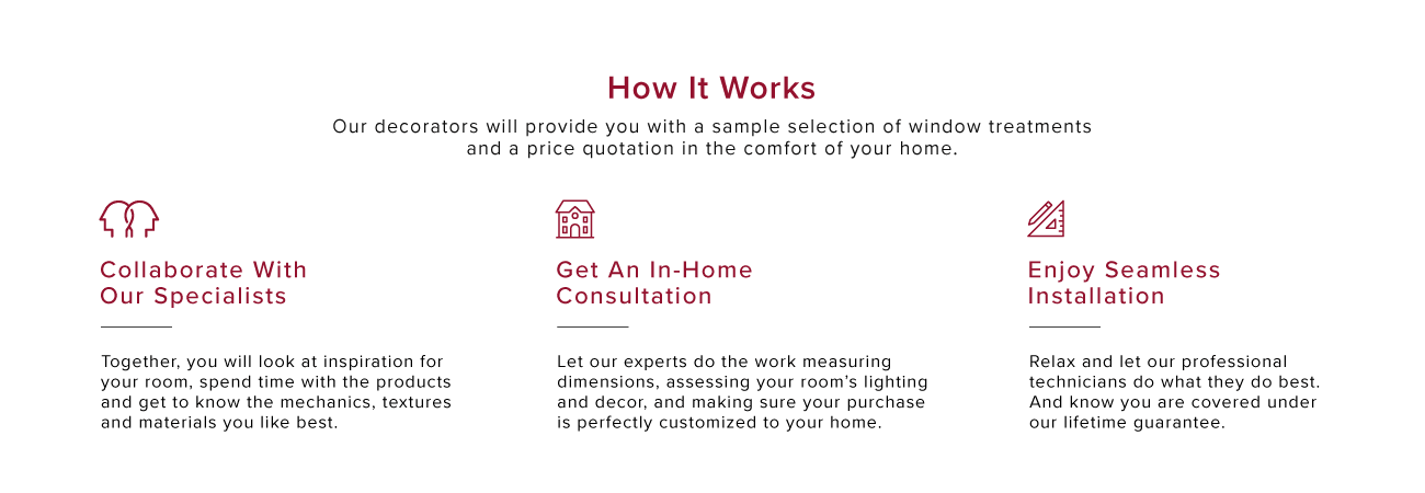 Book a free in-home consultation with our decorators. Installation is seamless for your custom window coverings.