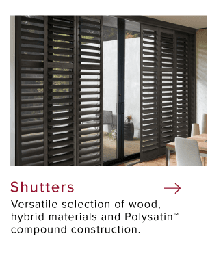Dark window shutters facing patio in dining room by Hunter Douglas